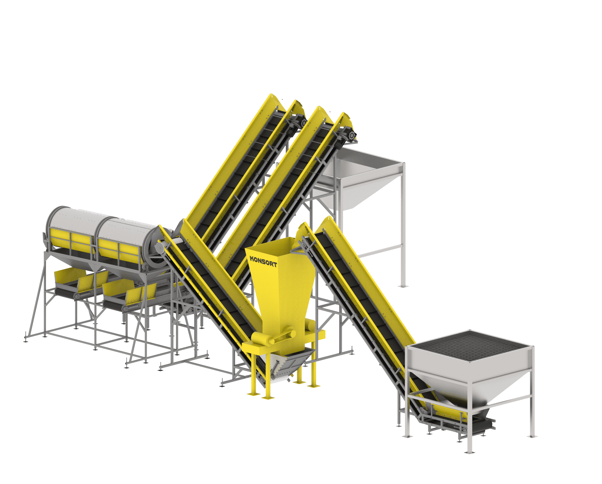 Line for sorting and processing of bulk products