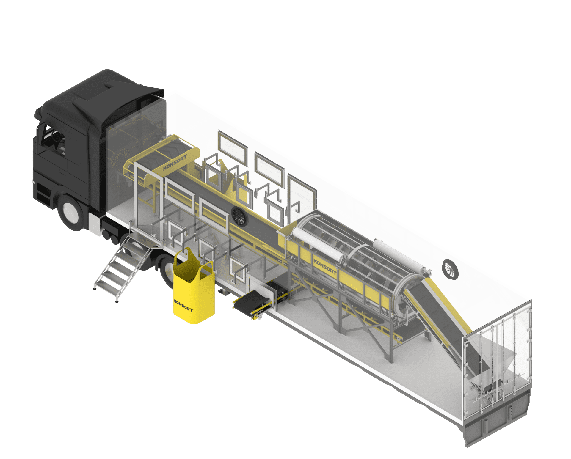 Mobile line for sorting waste (solid domestic waste – SDW)