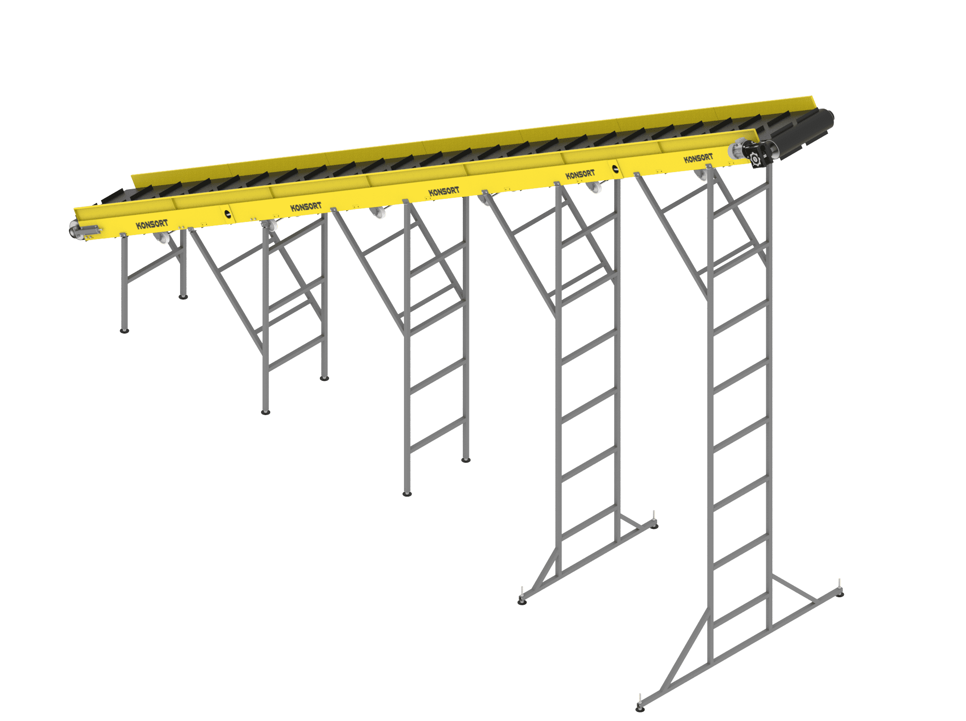 The conveyor is inclined