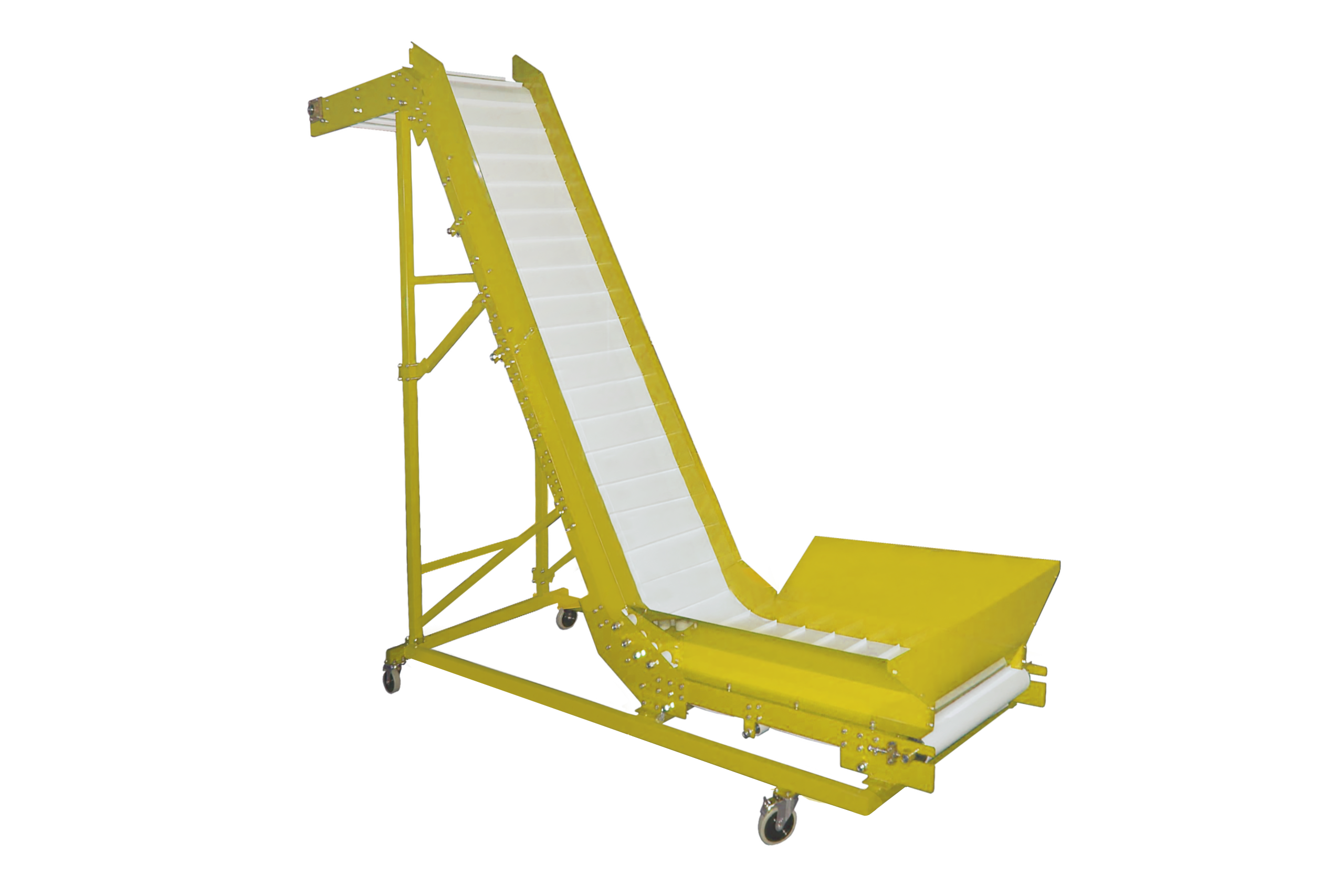 The conveyor is Z-shaped inclined 3,5m (conveyor with an inflection) for product movement